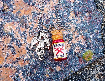 NEW Dragons blood silver charm necklace spiritual metaphysical novelty gift