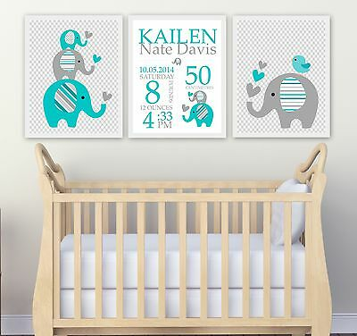 SALE !!!! Custom Baby Birth Print  Announcement Nursery Wall Art Set of 3