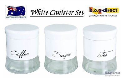 Set Of 3 Milano Canister Set Tea Coffee And Sugar White New In Box