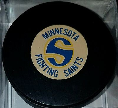 Minnesota Fighting Saints OFFICIAL HOCKEY  PUCK CONVERSE ART ROSS TYER vintage