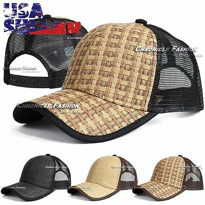 Baseball Cap Trucker Adjustable Snapback Summer Curved Hat Plain Mesh Solid Mens