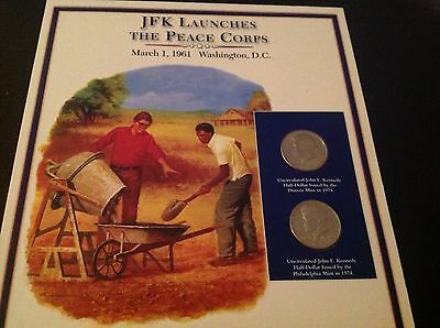 JFK half dollar coin and stamp collection - JFK Launches The peace Corps