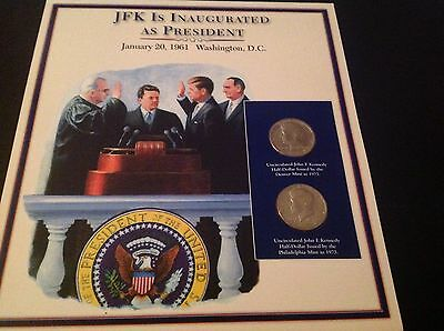 JFK half dollar coin and stamp collection - JFK is inaugurated as President