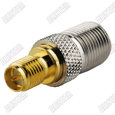 RP SMA Female(male pin) to F-Type Female Jack Straight Coax RF Adapter Connector