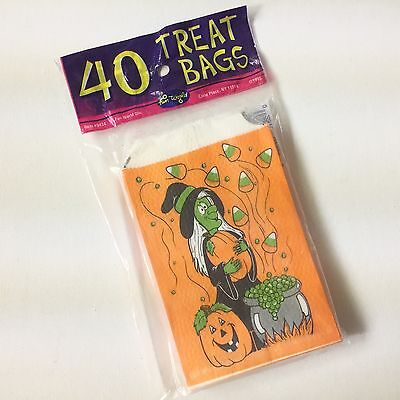 40 Vintage Halloween Trick Or Treat Fun World Paper Treat Bags Nip Witch