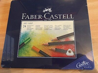 Faber Castell Artist GRIP Colour Pencil Tin - 24 Set. Colouring Pencils.