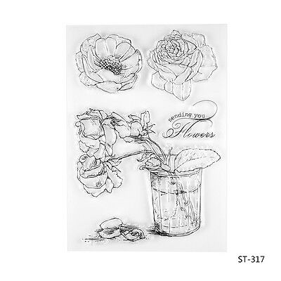 4 Flowers Clear Silicone Stamp for DIY Scrapbooking Photo Album Decor Supplies