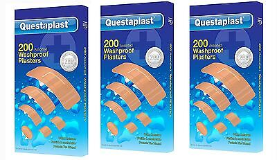 Questaplast 200 Pack Washproof Water Resistant First Aid Plasters For Healing