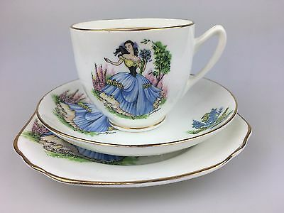 Duchess - Trio - Bone China Made In England - Lovely Design Of Lady In Blue