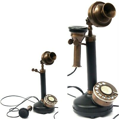 Antique Black Pipe Brass Candlestick Phone Vintage Replica Old Telephone Corded