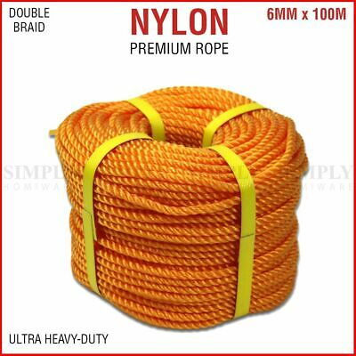6mm x 100M Nylon Rope Double Braid Boat Anchor Marine Climbing Tow Trailer Winch