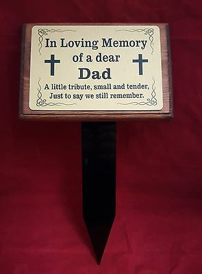 Solid Wooden Memorial Stake Grave/Tree Marker Cremation Personalised Plaque Dad