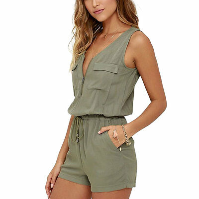 Womens Casual Sleeveless Playsuit Bodycon Jumpsuit Romper Short Pants Trousers