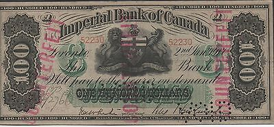 Imperial Bank of Canada $100   2.1.1917 S 1141x  Circulated Banknote Cancelled