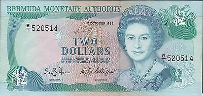 Bermuda $2 1.10.1988  Prefix B/1 Que. II Circulated Banknote