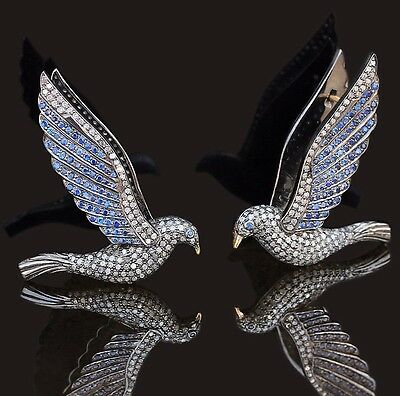 Sapphire Gemstone 925 Silver Pave Diamond FLYING BIRD Clip Earrings 14k Gold CT