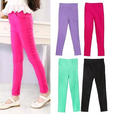 Kids Girl Stretch Skinny Pencil Pants Casual Soft Cotton Trousers Leggings 4-10Y