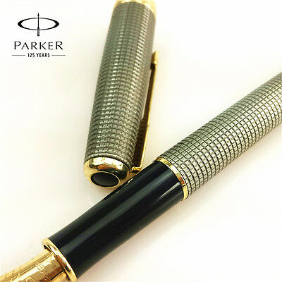 Parker Sonnet Fountain Pen Plaid Silver Gold Color NO INK LIQUID