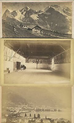 3 CABINET CARDs: 19th Century Photographs of SWISS Scenes SWITZERLAND Montreux +