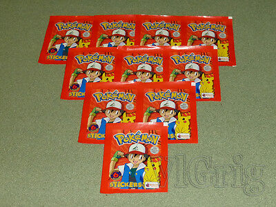 2000 POKEMON Merlin topps - 10 sealed packets * 6 stickers
