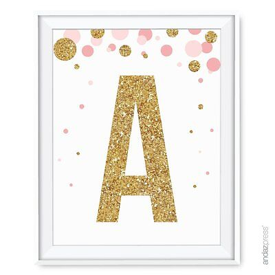 Andaz Press Nursery Wall Art Decor, Pink and Printed Gold Glitter, Letter A, 8.5