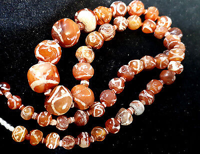 Ancient Etched Carnelian Bead 250BC-650AD Assorted pattern Cross Eye Longevity