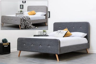 Fabric Upholstered Bed Frame Modern Grey Scandi Style Designer Double King Size