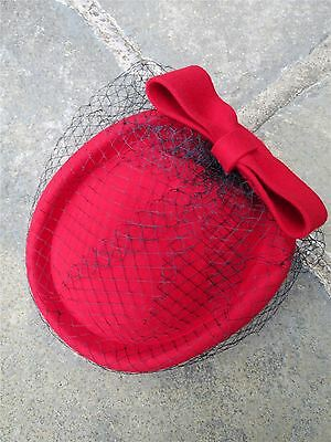 Vintage Authentic 1940's 60's Style  Red 100% Wool Felt Pill Box Hat With Bow