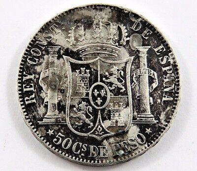 PHILIPPINES 1885 50 CENTIMOS VF/XF CONDITION .3485 oz. ALFONSO XII  .835 SILVER