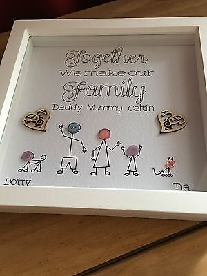 Personalised Stick Family Box Frame - New Home - Birthday - Anniversary - Gift