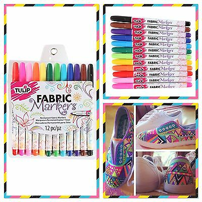 NEW Fine Tip Pen Permanent Fabric Markers:Tulip 12 Colour Pack-Shirts/Bags/Craft