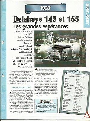 Voiture Delahaye 145 Et 165 Fiche Technique Automobile 1937 Collection Car