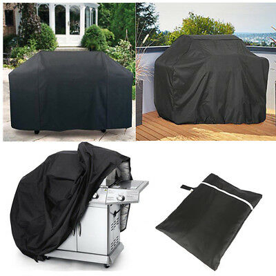 Large BBQ Cover Heavy Duty Waterproof Rain Snow Barbeque Grill Protector Black
