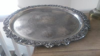 Large  Vintage Silver Plated Round Tray / F B Rodgers  48 Cm Ex Quality