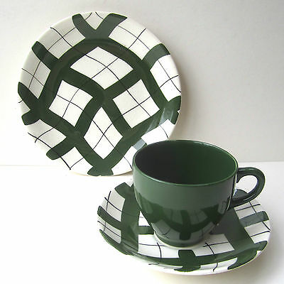 Vintage EMPIRE CHECK Cup Saucer Side Plate Harlequinade Trio Green Retro 1950s