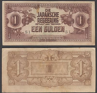 Indonesia 1 Gulden 1942 (VF+) Condition Banknote WWII Japanese Occ. WWII