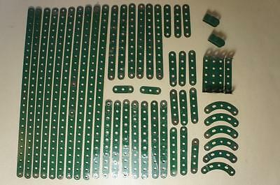 Meccano selection of dark green perforated strips and small parts