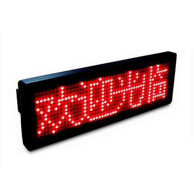Red LED Name Badge Tag Sign Display Programmable Moving Scrolling Message CG