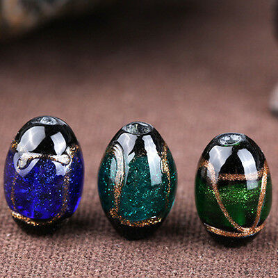 Clear Glass Oval Loose Gem Beads Buddha Bead Making Jewelry Craft DIY Finding