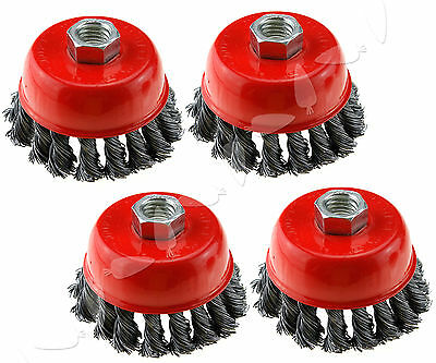 4PCS Twist Knot Wire Wheel Flat Brush Kit for 3 inch Angle Grinder M14 Crew