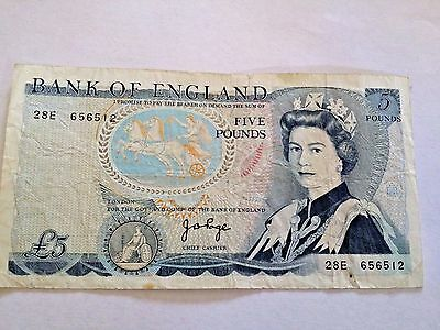 bank of england blue 5 Pound note British old £5 note