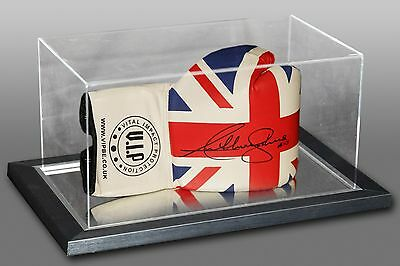 Anthony Joshua Signed Union Jack Vip Boxing Glove In A Acrylic Case inscribed AJ