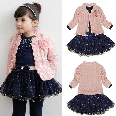 Baby Girl Kids Long Sleeve T-shirt Tops + Jacket Coat + Bow Skirt Party Set 1-6Y