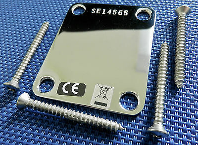 2014 USA Fender John Mayer Stratocaster NECK PLATE Chrome Vintage Ser# SE14565