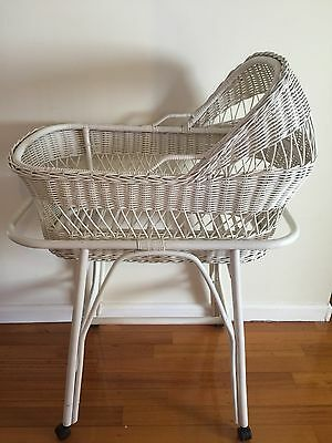White Cane Baby Whicker Bassinet With Stand