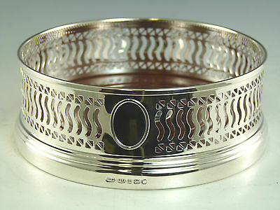 """NEW - Solid Silver - Wine Bottle / Decanter Pierced COASTER - 5"""" - Boxed"""