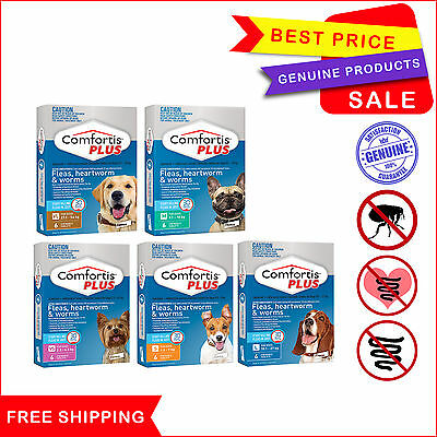 COMFORTIS PLUS Flea Heartworm Worm treatment for Dogs All Sizes 6 Chews