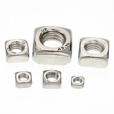 10-500pcs Stainless Steel A2 Square Nuts For Metric Screws Bolt DIN557 M3-M10