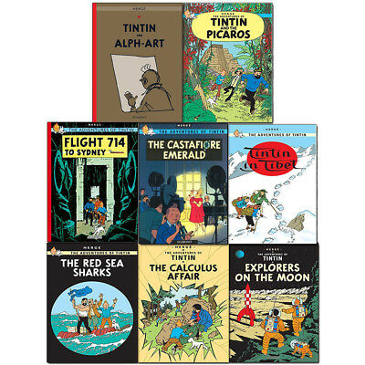 Adventures of Tintin 8 Books Collection Series 4 to 5 Set Pack Tintin in Tibet