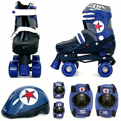 SK8 Zone Quad Skates Padded Kids Roller Boots Safety Pads Helmet Skate Set